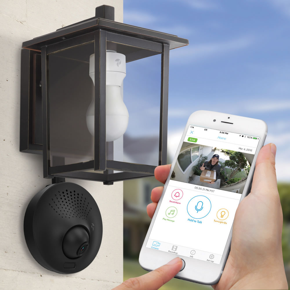 The Light Socket Powered WiFi Security Camera - Hammacher Schlemmer