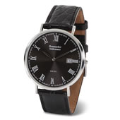 Thin Calendar Watch Leather Band Black