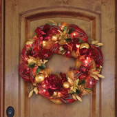 "The 36"" Cordless Prelit Ribbon Wreath."