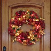 Cordless Prelit Ribbon Wreath