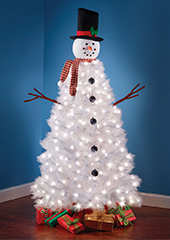 5.5 Ft Prelit Snowman Tree White