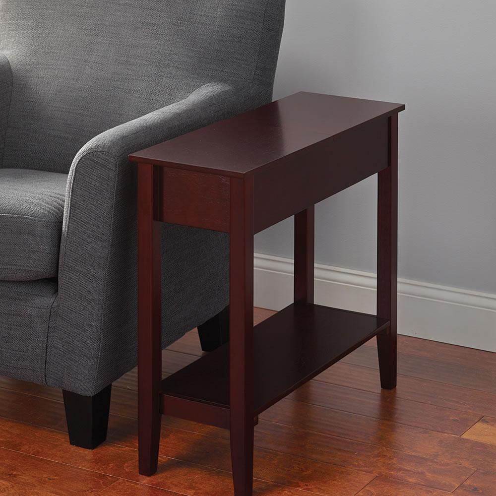 Very Slim Bedside Table the hidden storage side table - hammacher schlemmer