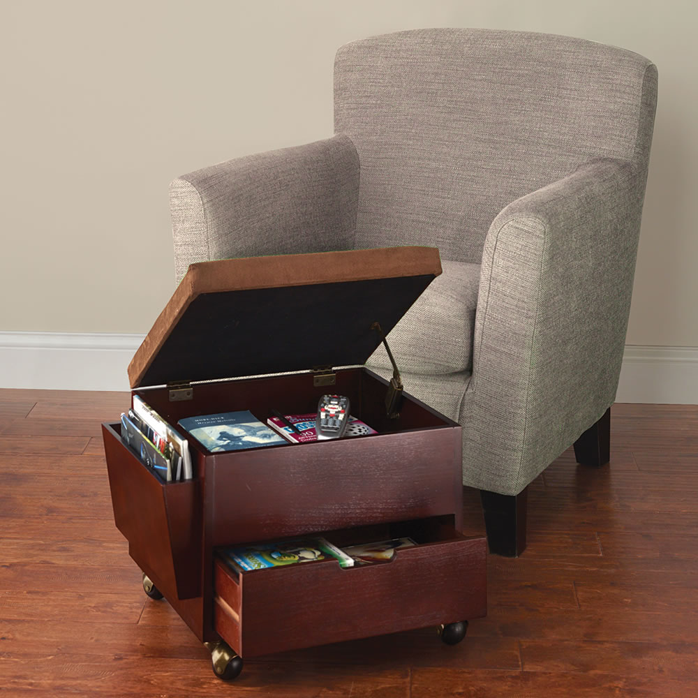 REVIEW SNAPSHOT® - The Rolling Storage Ottoman - Hammacher Schlemmer