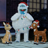 he Rudolph, Clarise, and Bumble Lawn Sculptures.