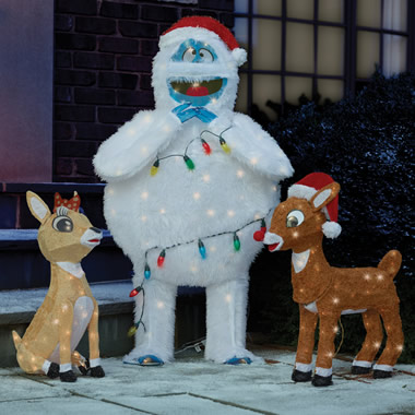 The Rudolph, Clarice, and Bumble Lawn Sculptures