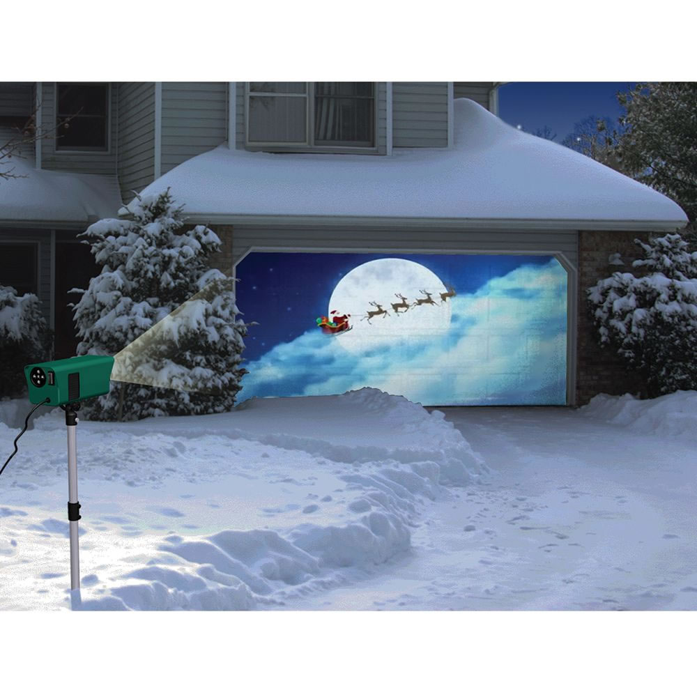 The animated holiday scenes projector hammacher schlemmer for Outdoor christmas scenes