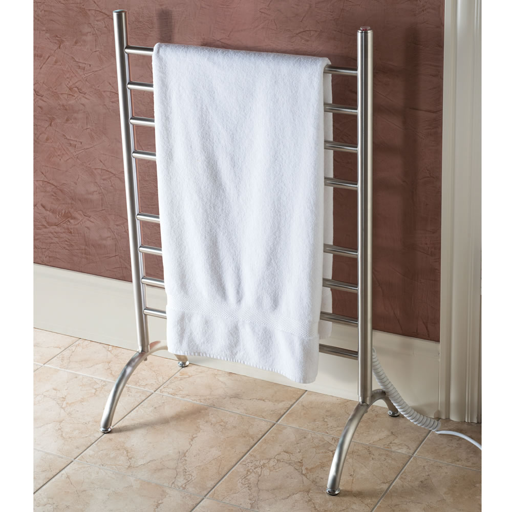 the best freestanding heated towel rack  hammacher schlemmer - the best freestanding heated towel rack