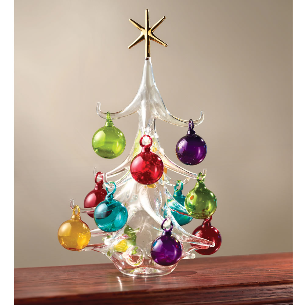 the italian hand blown glass christmas tree hammacher. Black Bedroom Furniture Sets. Home Design Ideas