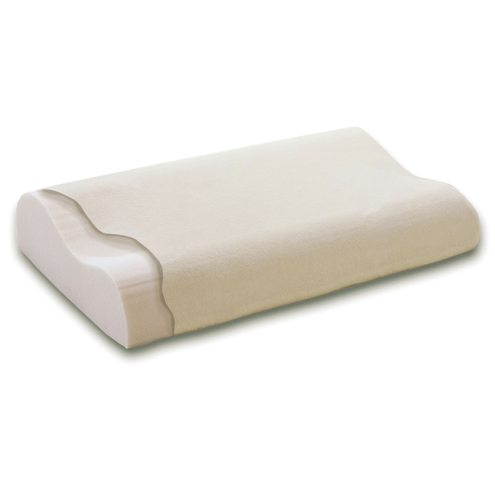 The neck pain relieving memory foam pillow hammacher for Memory foam pillow for neck pain