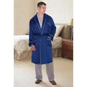 Washable Silk Mens Robe Blue Large