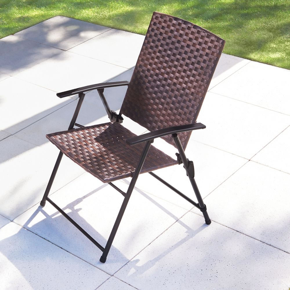 The Folding All Weather Wicker Chairs Hammacher Schlemmer