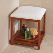 The Cushioned Teak Shower Stool.