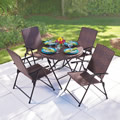 The Folding All Weather Wicker Table And Chairs.