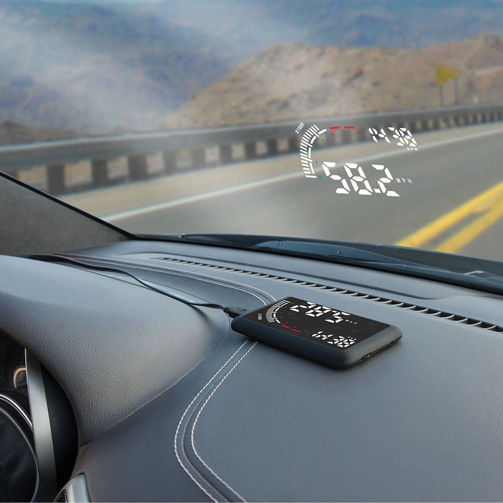 the windshield heads up display hammacher schlemmer. Black Bedroom Furniture Sets. Home Design Ideas