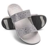 Wom Pf T Strap Sandal Pewter 10