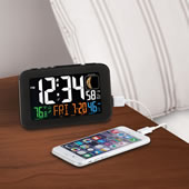 Phone Charging Atomic Alarm Clock Black