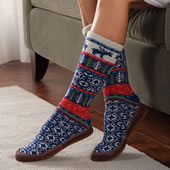 Fair Isle Ragg Wool Slipper Sock Large