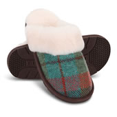 In Out Wool Tartan Shpskn Scuffs Tea Lrg