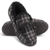 In Out Mens Plaid Shearling Mocs Gry 10