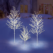 3 Piece Prelit Twig Tree Set