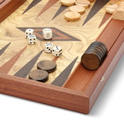 The Hand Inlaid Greek Olive Burl Backgammon Set.