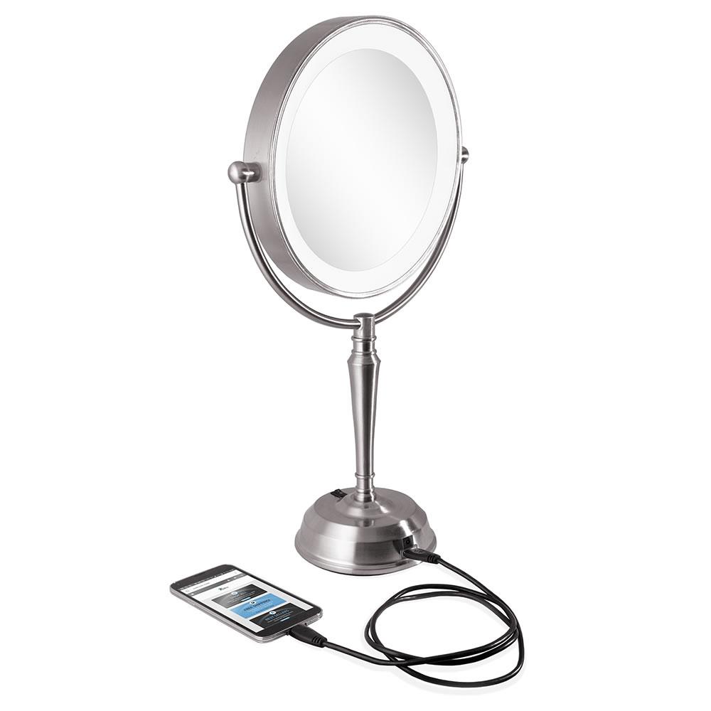 the phone charging cordless vanity mirror hammacher