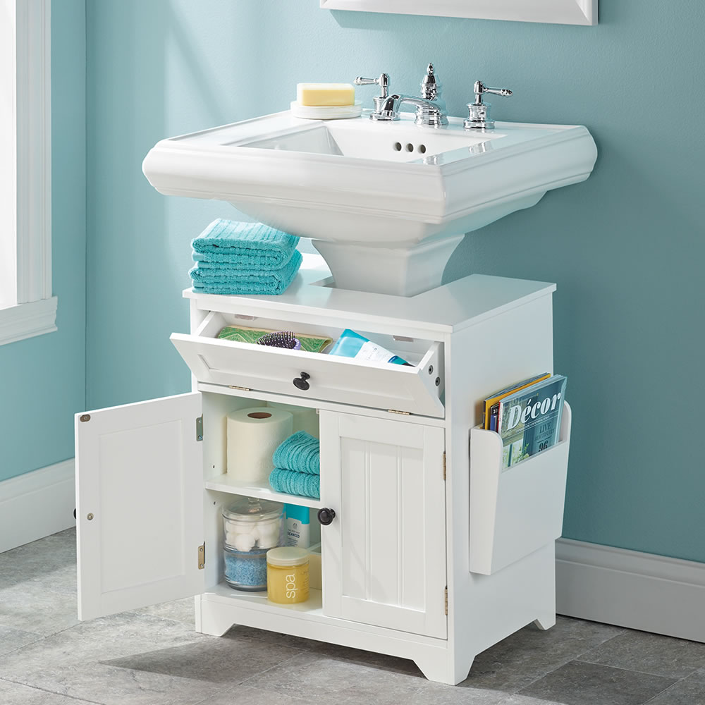 The pedestal sink storage cabinet hammacher schlemmer - Bathroom vanity under sink organizer ...