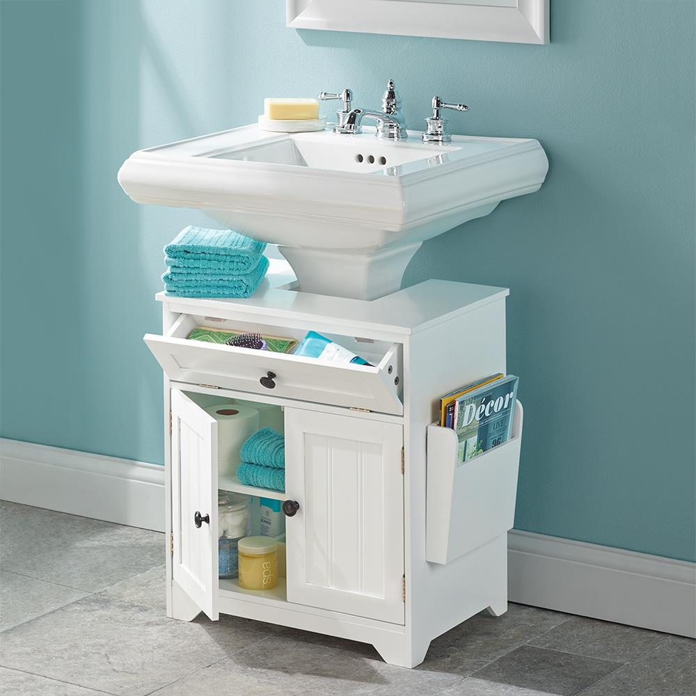 The Pedestal Sink Storage Cabinet. - The Pedestal Sink Storage Cabinet - Hammacher Schlemmer