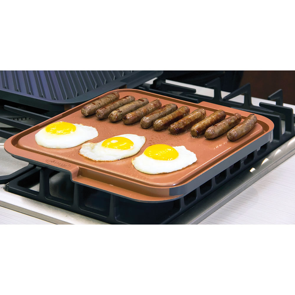 the scratchproof nonstick double sided griddle grill hammacher schlemmer. Black Bedroom Furniture Sets. Home Design Ideas