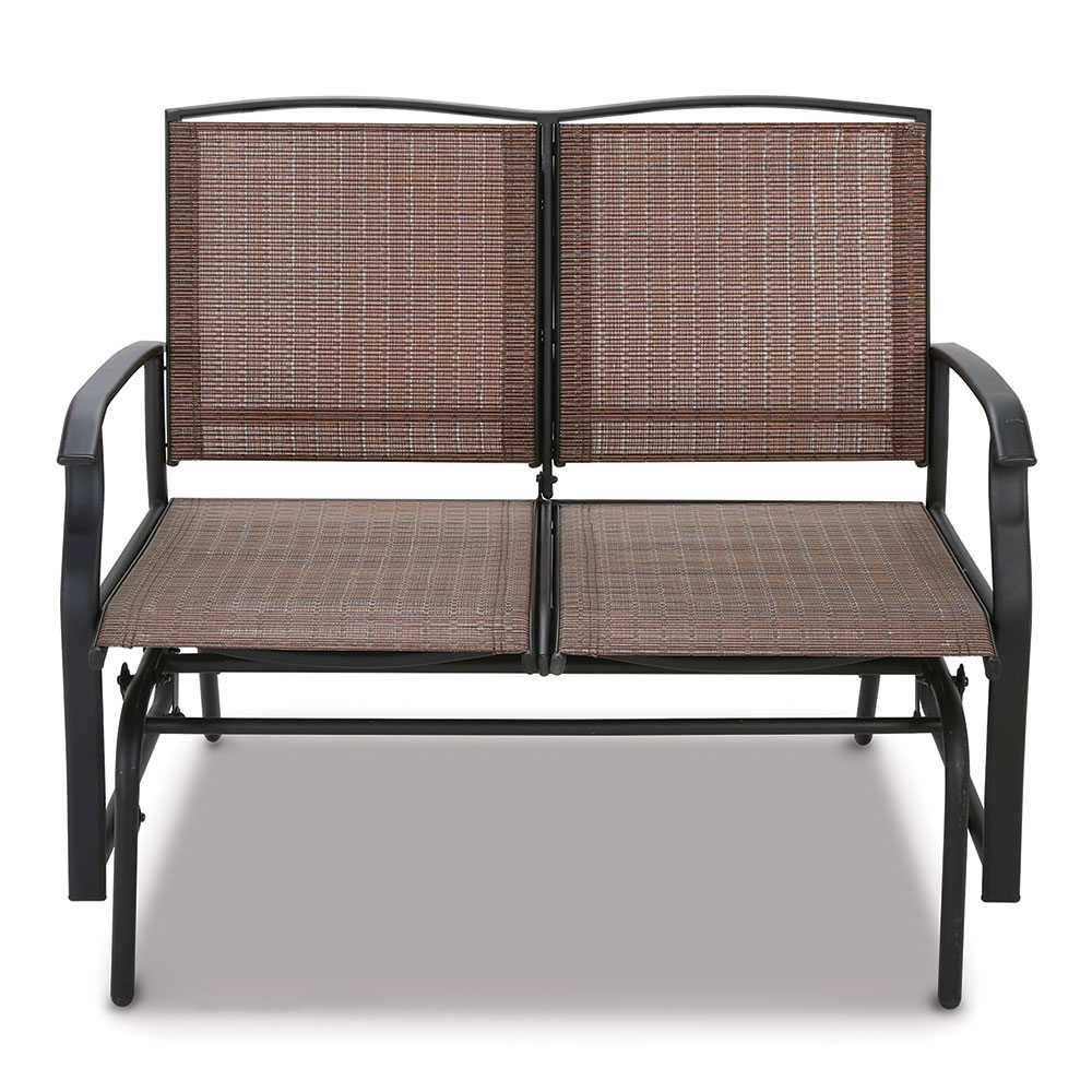 the breathable mesh outdoor glider bench