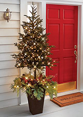 The Estate Door Prelit Christmas Tree Planter