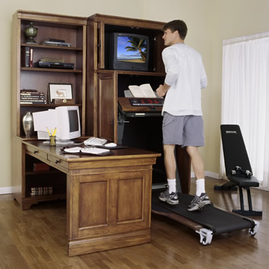 The Armoire and Desk with Built-In Fitness Center
