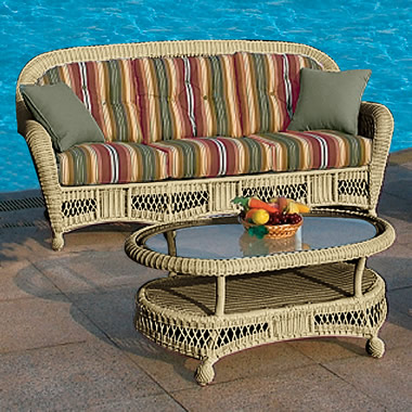 The Classic Outdoor Hand-Woven Collection Sofa and Coffee Table