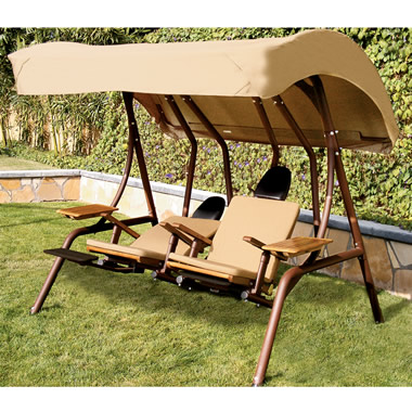 The Dual Reclining Covered Lounge Swing.