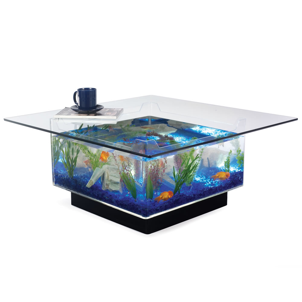 The Aquarium Coffee Table Hammacher Schlemmer