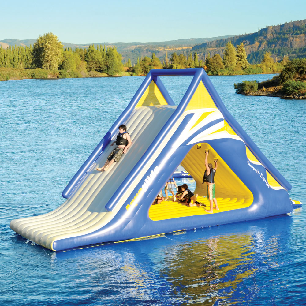 the gigantic water play slide hammacher schlemmer