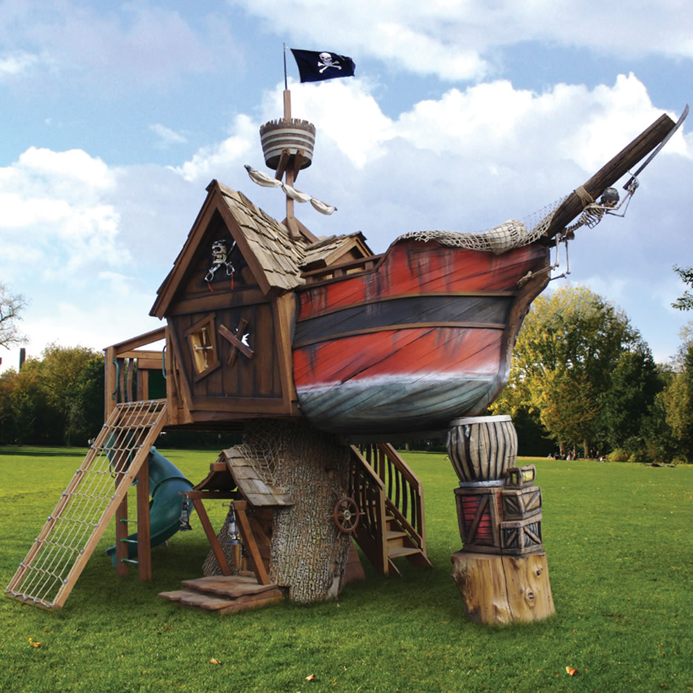 The pirate ship playhouse hammacher schlemmer for Casita infantil jardin