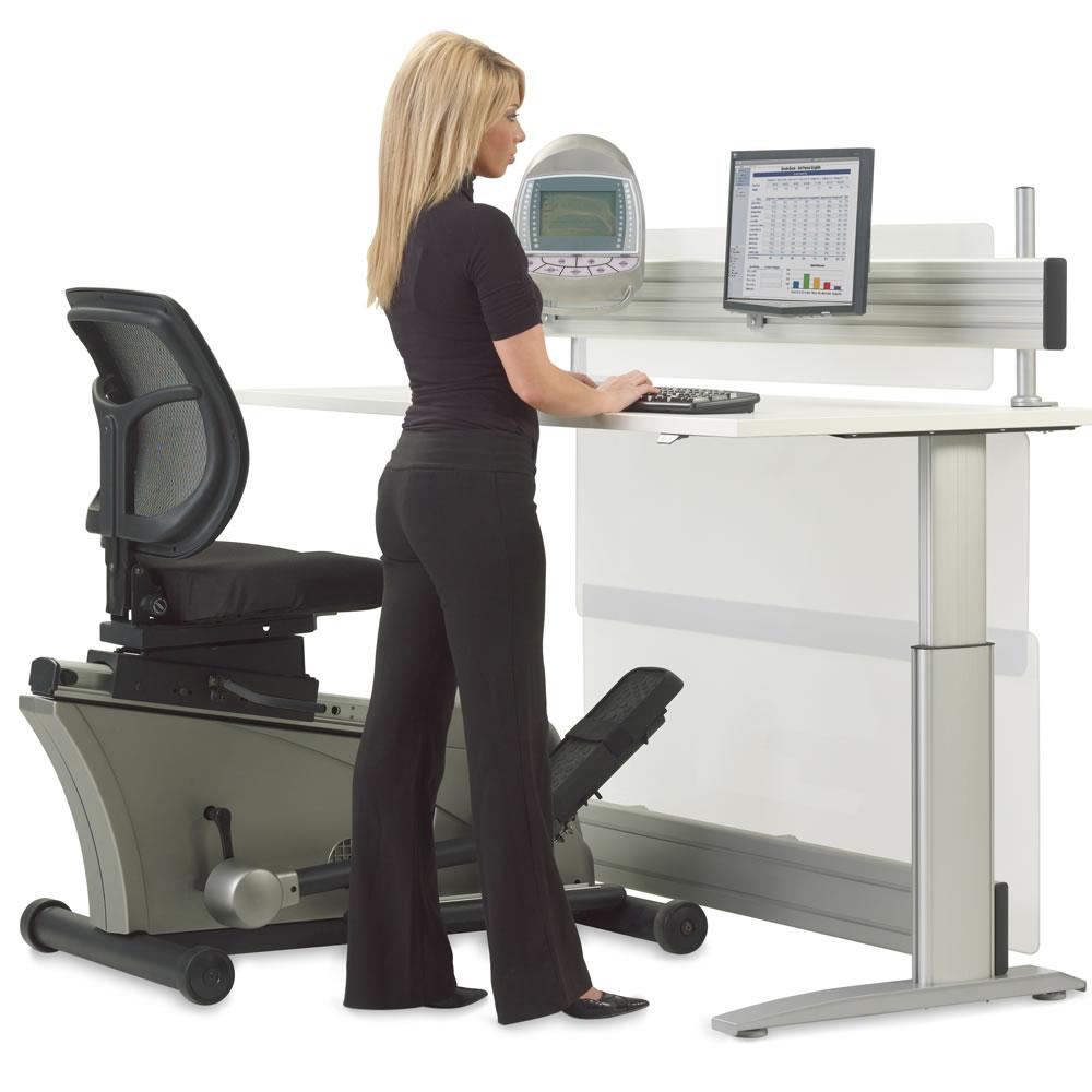 the elliptical machine office desk hammacher schlemmer
