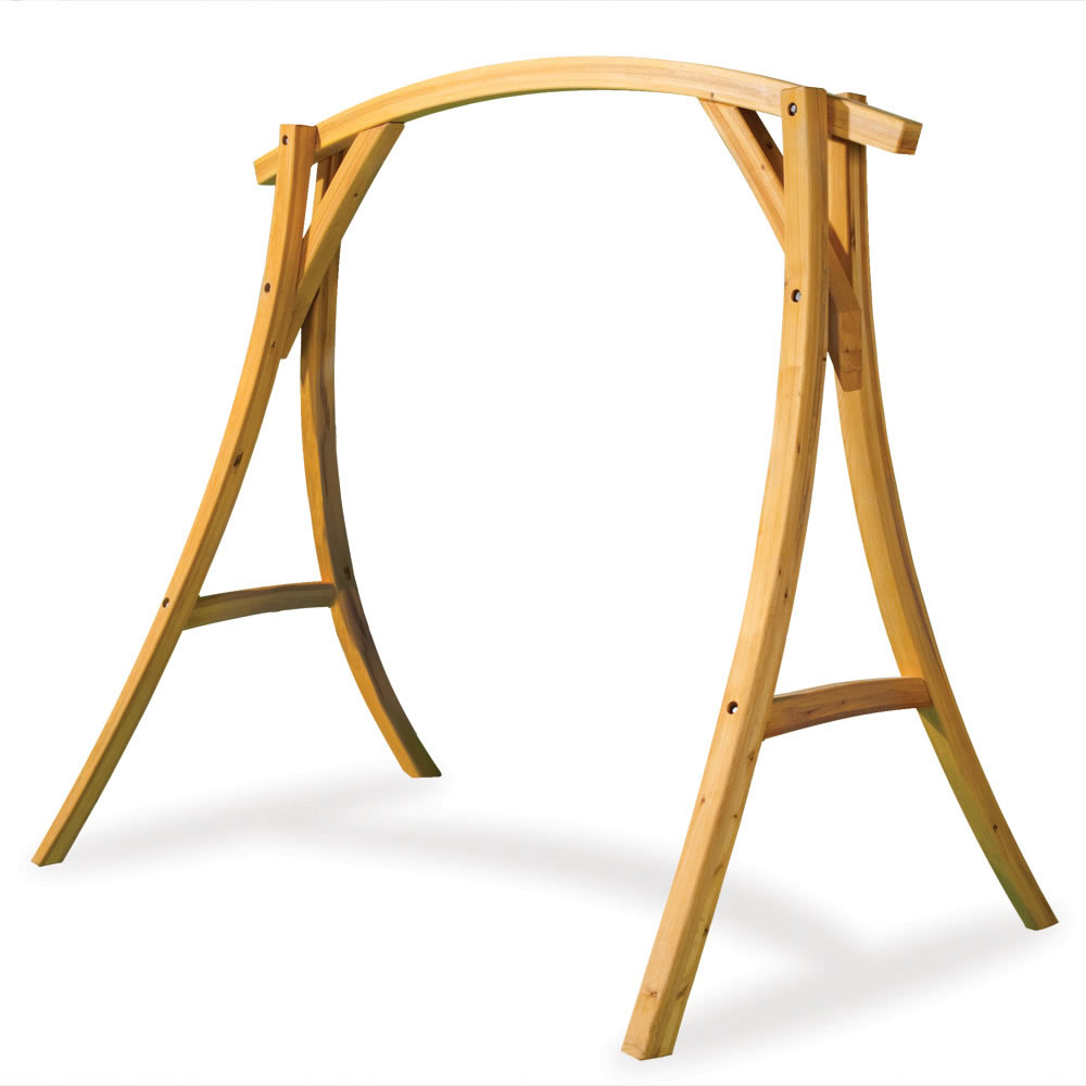 The Arched Cypress Swing Stand - Hammacher Schlemmer