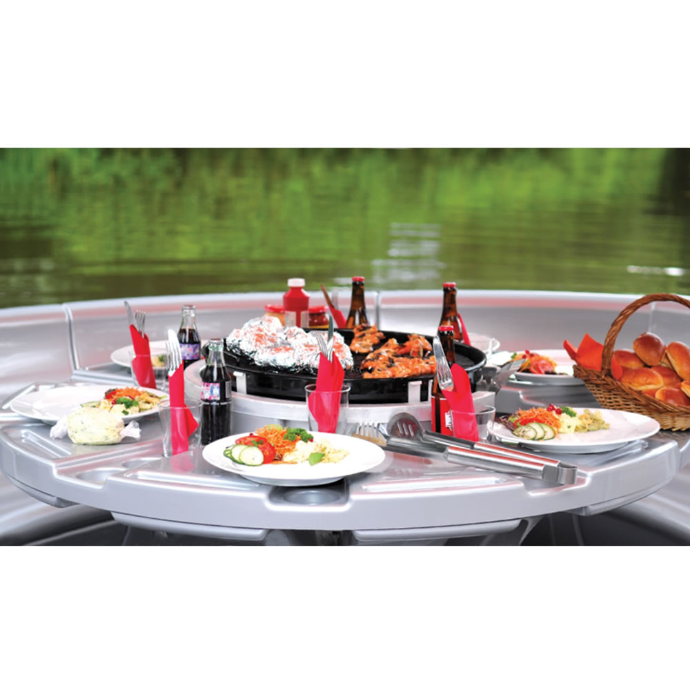 The Barbecue Dining Boat Hammacher Schlemmer