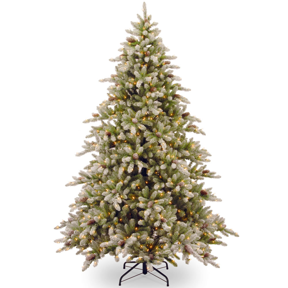the 7 12 foot prelit frost tipped prelit christmas tree hammacher schlemmer - Pre Lighted Christmas Trees