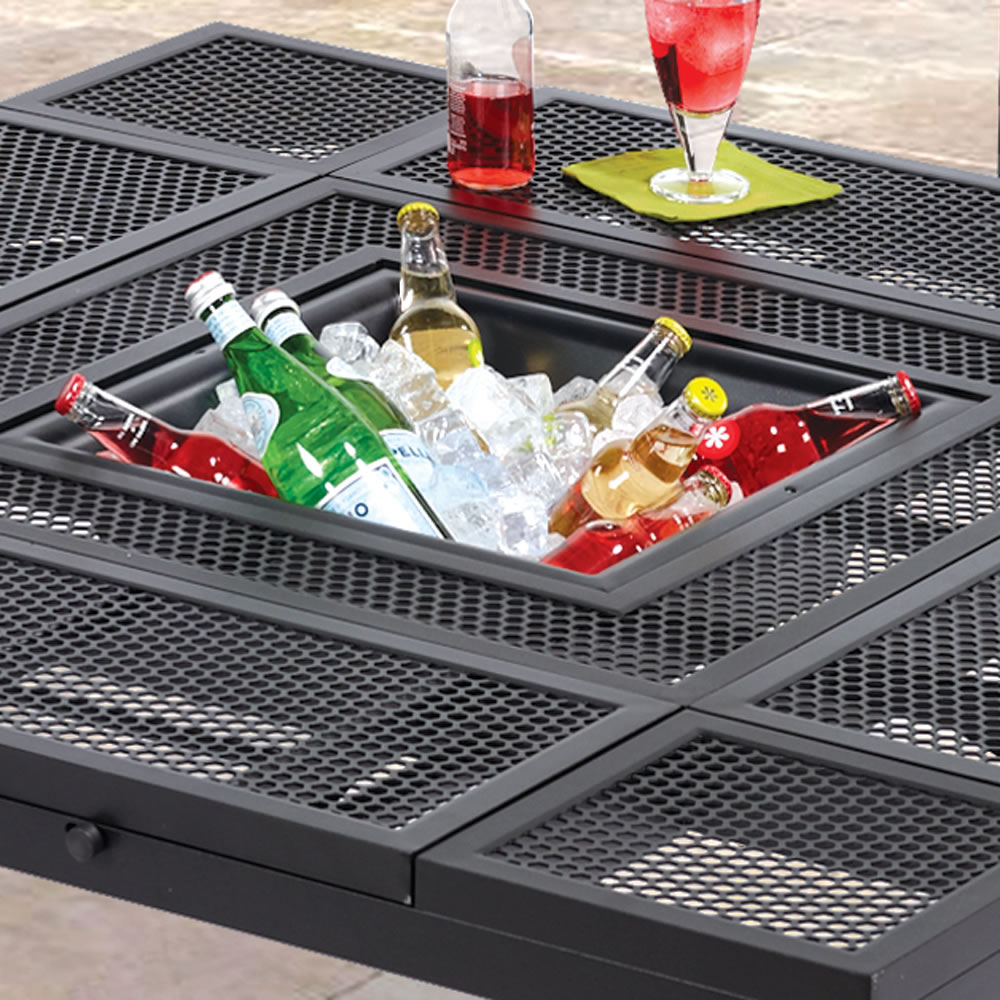 The Outdoor Convertible Coffee To Dining Table Hammacher Schlemmer