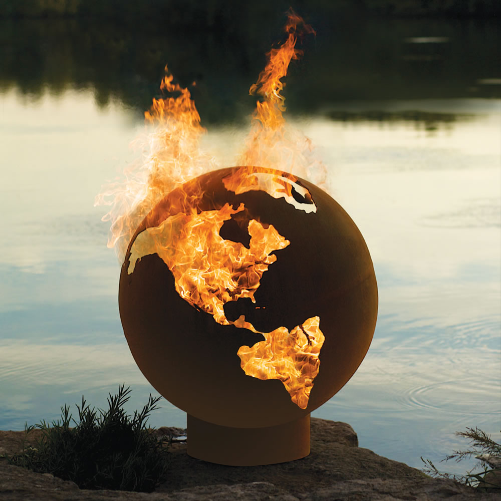 The Athletes' Village Fire Pit Globe - The Athletes' Village Fire Pit Globe - Hammacher Schlemmer