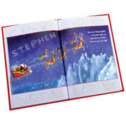 """This is the personalized heirloom story book whose pages trace the journey of a child's letter as it travels to the North Pole and recount Santa's dutiful delivery of presents on Christmas morning. Told from Santa's point-of-view, a child's first name appears on all 10 spreads both in the book's four-lined rhyming verse and across 10 hand-painted illustrations. The first page depicts Santa examining your child's """"Good"""" and """"Naughty"""" list (a 5:1 ratio), your child's name written in the snow below his sleigh on Christmas Eve, and in the night sky among snowy stars. Elves, reindeer, sleighs, and other classic Christmas imagery grace each page, complementing Santa's narrative. Each 11 1/2"""" H x 8"""" W book is printed on high-quality satinated pape"""