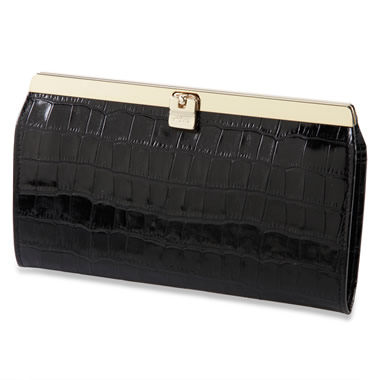 The Lady's Italian Leather Accordion Wallet (Crocodile Skin Embossed)