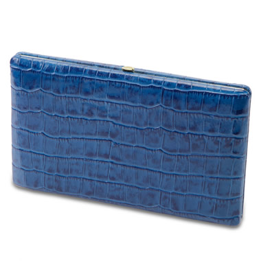 The Lady's Italian Leather Frame Wallet (Crocodile Skin Pattern)
