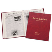 """This is the reproduction of the The New York Times that printed on the day you were born, or any other date. Containing all of the news the """"Gray Lady"""" saw fit to print, the issue you choose is procured from the archives of The Times, complete with the headlines, stories, photographs, and advertisements that appeared on that day. The newspaper is reprinted in a traditionally bound birthday book that displays the recipient's name, """"The New York Times"""", and the date stamped in gold on the burgundy leatherette cover. Includes up to 16 reprints of historic front pages. Specify recipient's name (up to 40 characters) and any date between 1900 to present. Each book contains approximately 80 pages (depending on t"""