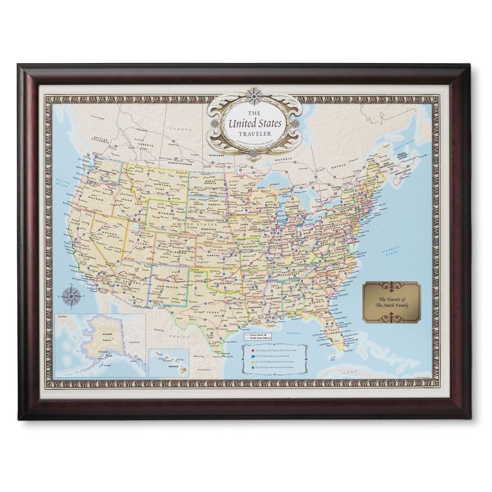 The Personalized Travel Map Hammacher Schlemmer