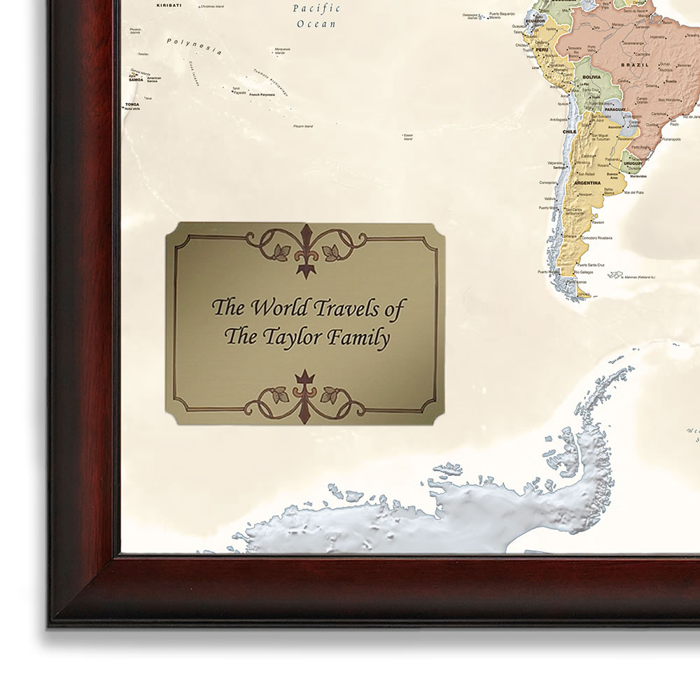 Personalized Travel Map The Personalized Travel Map   Hammacher Schlemmer Personalized Travel Map
