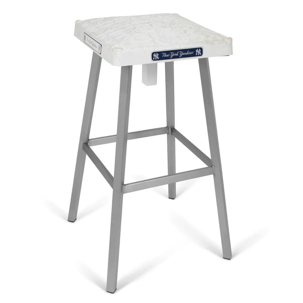 The Game Used Base Bar Stool Hammacher Schlemmer
